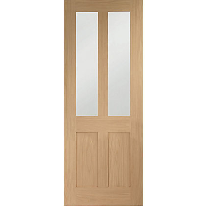 Image for London 2 Glazed Shaker Oak Internal Door - 838mm Wide from StoreName