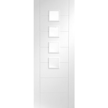 Image for Bromley 4 Lite Primed White Internal Door - 762mm Wide from StoreName