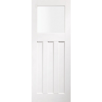 Image for DX Glazed Panel White Internal Door - 762mm Wide from StoreName