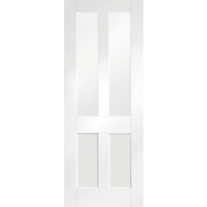 Image for London 4 Panel Shaker Primed Glazed White Internal Door - 838mm Wide from StoreName