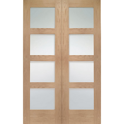 Image for Shaker 4 Lite Rebated Oak Internal Double Doors - 1067mm Wide from StoreName