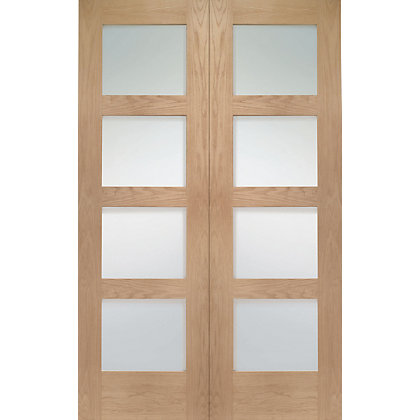 Image for Shaker 4 Lite Rebated Oak Internal Double Doors - 1220mm Wide from StoreName