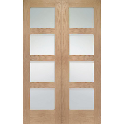 Image for Shaker 4 Lite Rebated Oak Internal Double Doors - 1372mm Wide from StoreName