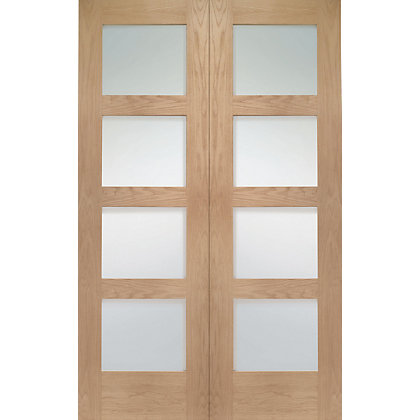 Image for Shaker 4 Lite Rebated Oak Internal Double Doors - 1524mm Wide from StoreName