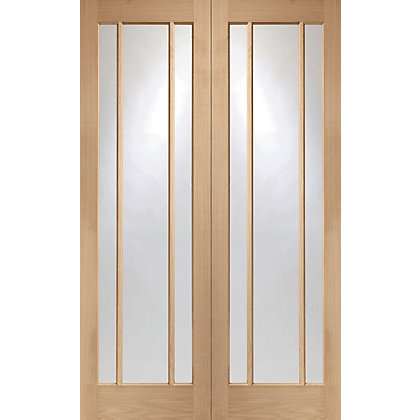Image for Blenheim 3 Panel Glazed Rebated Oak Internal Double Doors - 1524mm Wide from StoreName