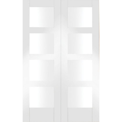 Image for Shaker Primed Glazed Rebated White Internal Double Doors - 1168mm Wide from StoreName
