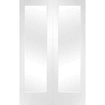 Image for Shaker Primed Glazed Rebated White Internal Double Doors - 1220mm Wide from StoreName
