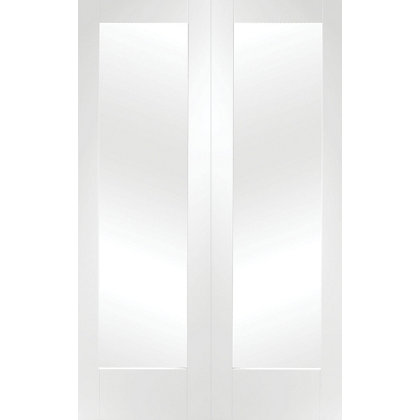 Image for Shaker Primed Glazed Rebated White Internal Double Doors - 1372mm Wide from StoreName