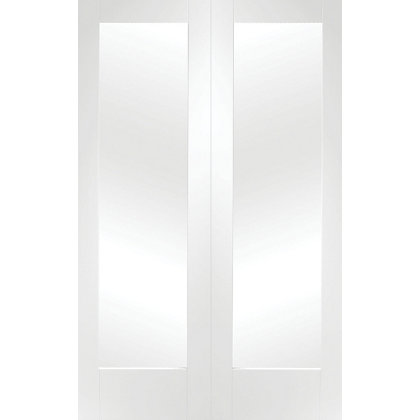 Image for Shaker Primed Glazed Rebated White Internal Double Doors - 1524mm Wide from StoreName