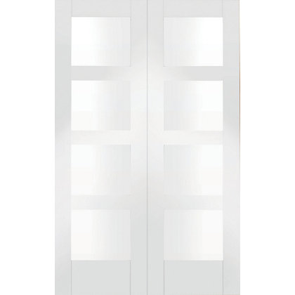 Image for Shaker 8 Panel Primed Glazed Rebated White Internal Double Doors - 1168mm Wide from StoreName
