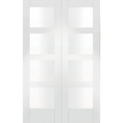 Image for Shaker 8 Panel Primed Glazed Rebated White Internal Double Doors - 1220mm Wide from StoreName