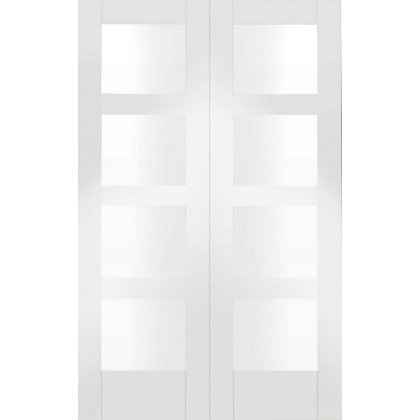 Image for Shaker 8 Panel Primed Glazed Rebated White Internal Double Doors - 1372mm Wide from StoreName