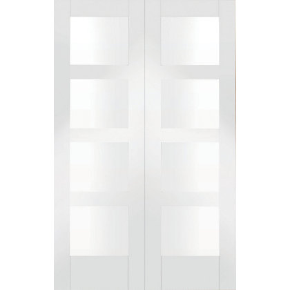 Image for Shaker 8 Panel Primed Glazed Rebated White Internal Double Doors - 1524mm Wide from StoreName