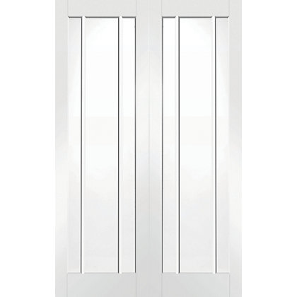 Image for Blenheim 3 Panel Lite Primed Rebated White Internal Double Doors - 1220mm Wide from StoreName