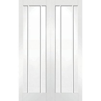 Image for Blenheim 3 Panel Lite Primed Rebated White Internal Double Doors - 1372mm Wide from StoreName