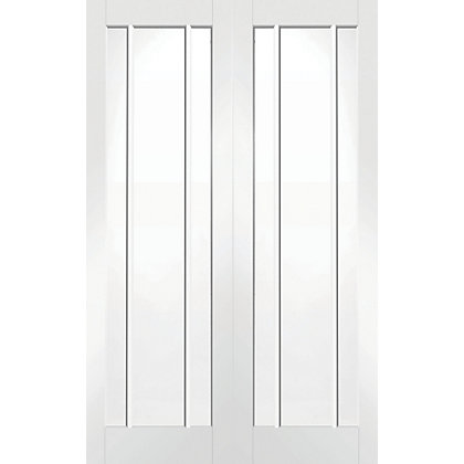 Image for Blenheim 3 Panel Lite Primed Rebated White Internal Double Doors - 1524mm Wide from StoreName