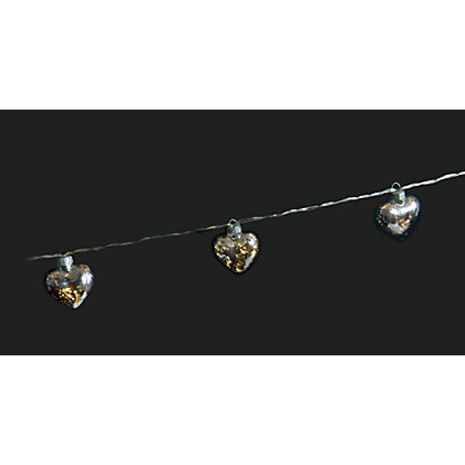 Image for 10 Silver Hearts Solar String Lights from StoreName
