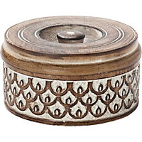 Heart of House Round Scallop Textured Wooden Box
