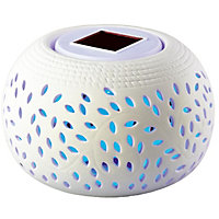 Colour Changing Ceramic Solar Table Light