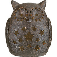 Copper Effect Large Solar Owl Light
