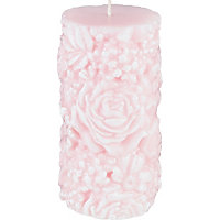 Heart of House Floral Textured Pillar Candle - Large