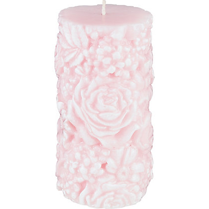 Image for Heart of House Floral Textured Pillar Candle - Large from StoreName