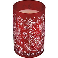 Heart of House Floral Textured Candle - Red