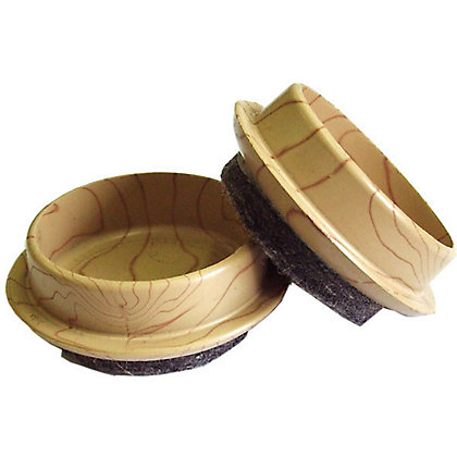 Image for Castor Cups With Felt Base - Light Wood Grain - 45mm - 4 pack from StoreName