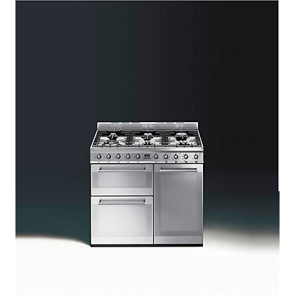 Image for Smeg SY93 Symphony Dual Gas Range Cooker - 90cm - Stainless Steel from StoreName