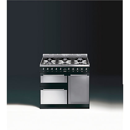 Image for Smeg SY93BL Symphony Dual Fuel Range Cooker - 90cm - Black from StoreName