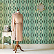 Graham & Brown Hemingway Vintage Deco Diamond Enamel Green Wallpaper