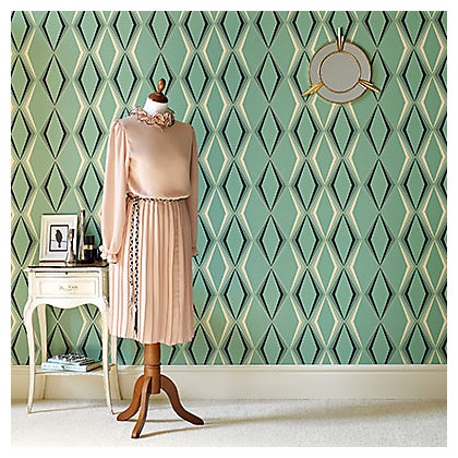 Image for Graham & Brown Hemingway Vintage Deco Diamond Enamel Green Wallpaper from StoreName