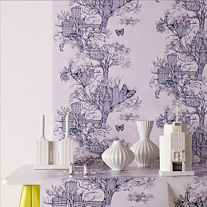 Image for Graham & Brown Urban Tree Lilac Wallpaper from StoreName