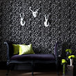 Julian McDonald  Flock Easy Tiger Black & Silver Wallpaper