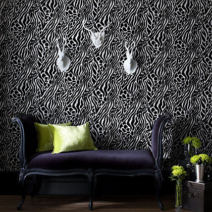 Image for Julian McDonald  Flock Easy Tiger Black & Silver Wallpaper from StoreName