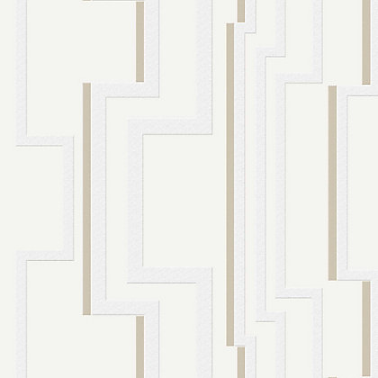 Image for Kelly Hoppen Groove White & Gold Wallpaper from StoreName