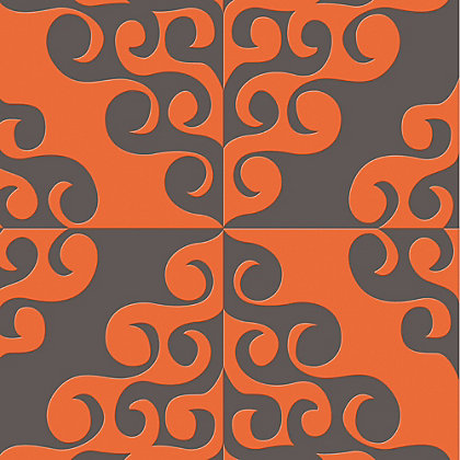 Image for Kelly Hoppen Twist Flock Orange Paste the Wall Wallpaper from StoreName