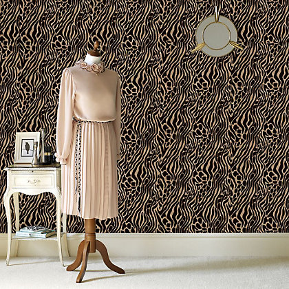 Image for Julian McDonald  Flock Easy Tiger Caffe & Gold Wallpaper from StoreName