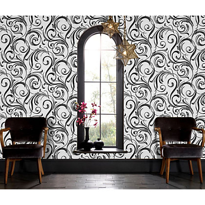 Image for LLB Swirly Wurly Cheeky Charcoal Wallpaper from StoreName