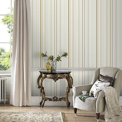 Image for Marcel Wanders Maestro Stripe Gold & White Wallpaper from StoreName