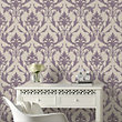 Graham & Brown Heavyweight Vinyl Oxford Cream & Purple Wallpaper