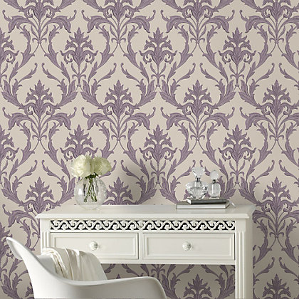Image for Graham & Brown Heavyweight Vinyl Oxford Cream & Purple Wallpaper from StoreName