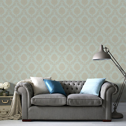 Image for Graham & Brown Heavyweight Vinyl Jacquard Gold & Teal Wallpaper from StoreName