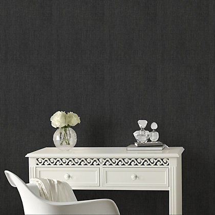 Image for Graham & Brown Heavyweight Vinyl Organza Black Wallpaper from StoreName