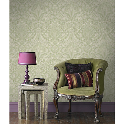 Image for Julian McDonald  Burlesque Green & Cream Wallpaper from StoreName