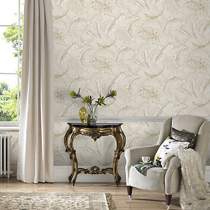 Image for Julian McDonald  Gilded Feather Cream & Gold Wallpaper from StoreName