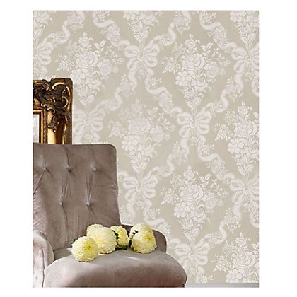 Image for Julian McDonald  Glimmerous Damask Taupe Wallpaper from StoreName