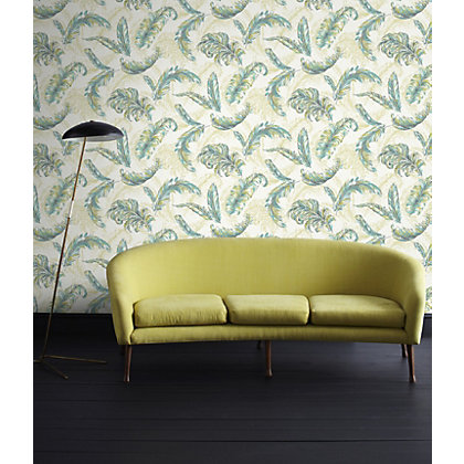 Image for Julian McDonald  Gilded Feather Green & Teal Wallpaper from StoreName