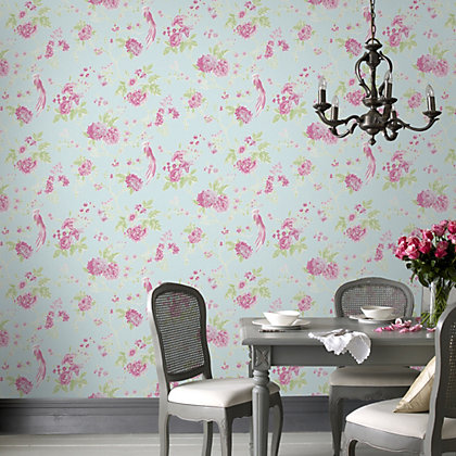 Image for Julian McDonald  Exotica Blue & Pink Wallpaper from StoreName