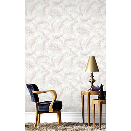Image for Julian McDonald  Gilded Feather Pink & White Wallpaper from StoreName